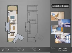 apartment for sale Ghajnsielem, 57 ㎡, bedroom: 1, new development